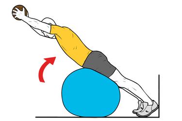 Extensión lumbar sobre pelota con balón