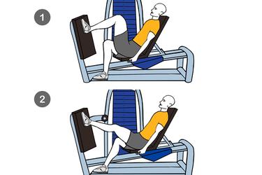 Extensión de una pierna en máquina horizontal