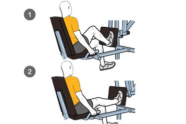 Extensión de una pierna en máquina horizontal en plataforma móvil