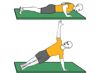 Flexión de brazos y plancha lateral