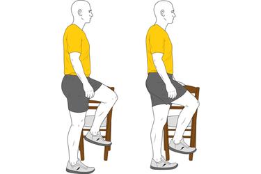 Flexión de cadera apoyo en silla