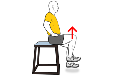 Flexión de cadera en silla alta