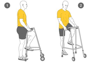 Flexión de cadera con andador