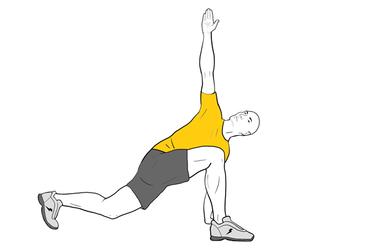 Flexión de cadera y rotación de tronco