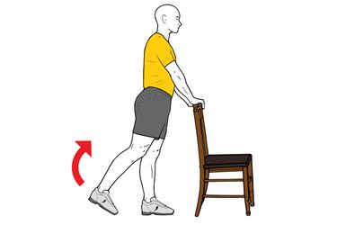 Flexión de rodilla de pie con apoyo