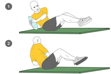 Giros abdominales con botella de agua