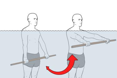 Hidroterapia: Elevación frontal de hombro con pica