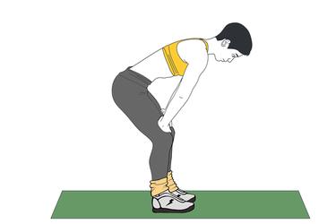 Hipopresivo bipedestación con rodillas flexionadas