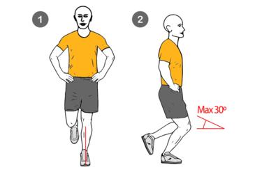 Media sentadilla a una pierna máximo 30º