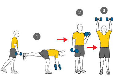 Peso muerto + curl biceps + press hombros