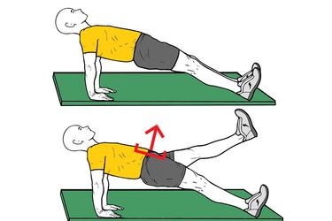 Plancha inversa con elevación de pierna