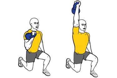 Press de hombro con  kettlebell una rodilla en el suelo