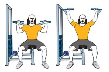 Press frontal de hombros en máquina sentado y agarre neutro
