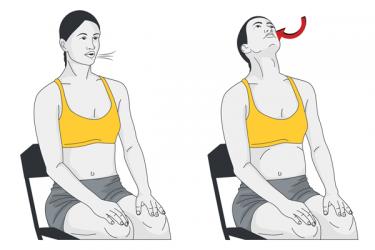 Respiración abdómino-diafragmática con extensión de cuello. Sentado