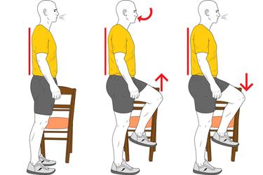 Respiración coordinada con elevación de pierna