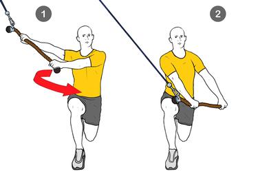 Rotación de cintura con pierna flexionada en cable polea