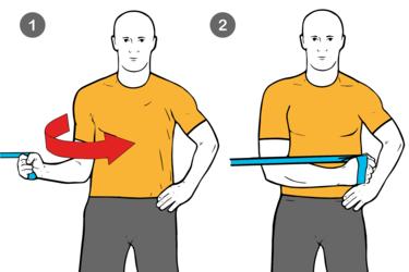 Rotación interna de hombro de pie con cable-polea