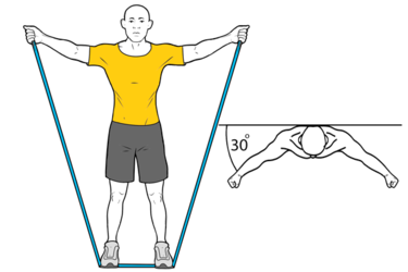 Elevación de hombros en el plano de la escápula con banda elástica