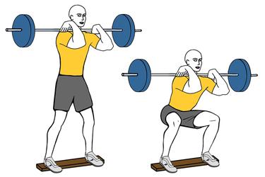 Sentadilla frontal con barra talones elevados