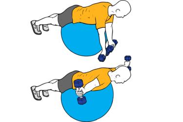 Ejercicio T o Elevación frontal de mancuernas sobre pelota suiza