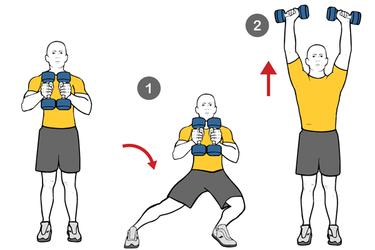 Zancada lateral y extensión de triceps